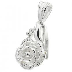 1x STERLING SILVER ROSE Bail Pendant Clasp Connector Slide