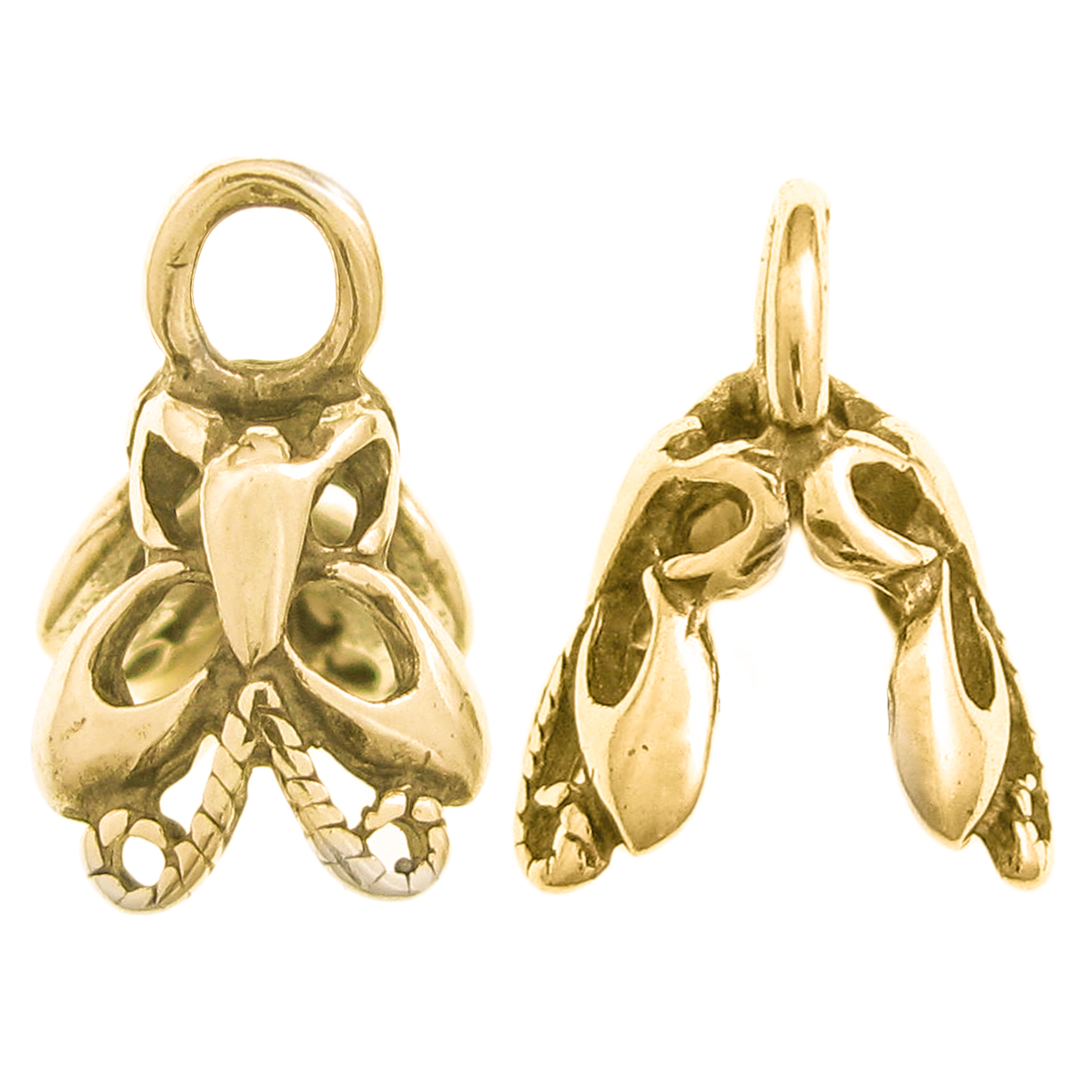 2x 14K Real Gold Plated STERLING SILVER Bail  BUTTERFLY PENDANT CLASP