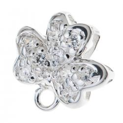 BRIGHT STERLING SILVER Bail CZ crystal FLOWER PENDANT SLIDE CLASP
