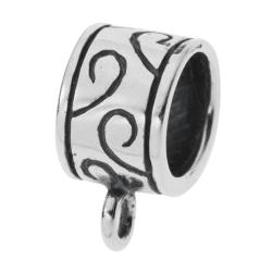 1x Sterling silver Pendant Charm Connector Cord Ring Slide for European Charm