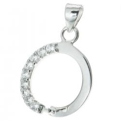 Rhodium on Sterling Silver CZ Crystal Round Bail Pinch Pendant Connector Dangle Clasp Slide