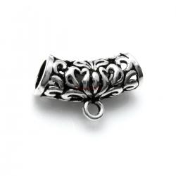 925 Sterling Silver Bali Flower Butterfly Leaf Curved Tube Bead Bail Pendant Connector Slide