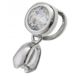 1x Rhodium on 925 Sterling Silver Round Clear CZ Crystal Bail Charm Pendant Connector Pinch