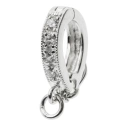 1x Rhodium on 925 Sterling Silver CZ Crystal Pendant Connector Clasp Bail Slide with Secure Lock