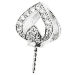 1x 925 Sterling Silver Heart CZ Crystal Bail Screwed Pin Pendant Connector Slide