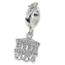 1x Rhodium on 925 Sterling Silver CZ 8-strand Interchangeable Bail Tassel Pendant Connector Clasp