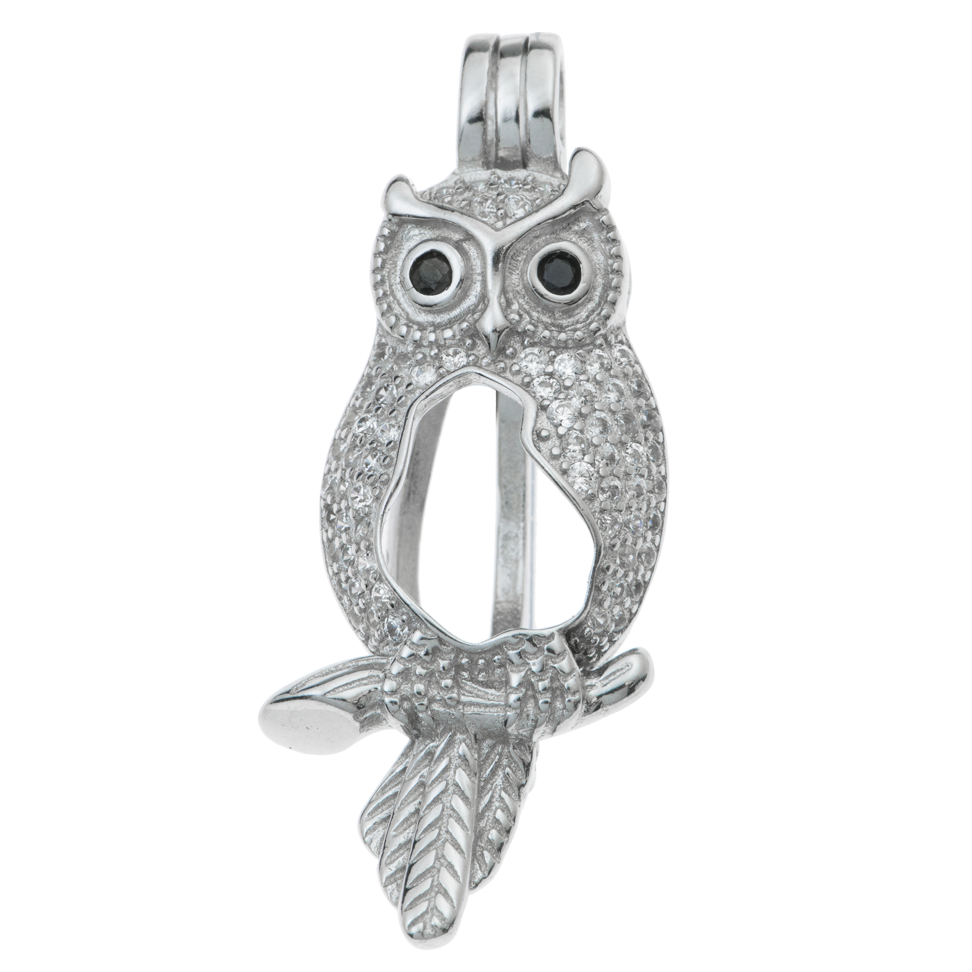 1x Rhodium on 925 Sterling Silver Owl CZ Interchangeable Pearl Bead Charm Pendant Holder