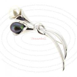 Rhodium on 925 Sterling Silver Lily Flower White & Peacock Natural Fresh Water Pearl Brooch with Safety Pin 68mm