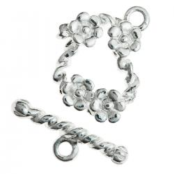 1x Sterling Silver Little Daisy Flower Garden Toggle Clasp 12mm