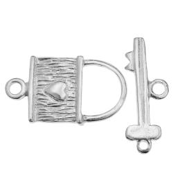 1x Sterling silver Sweet Heart LOCK KEY Toggle Clasp