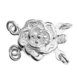 1x Sterling Silver Romance Rose Flower 2 Strand Pearl Box Clasp 9mm