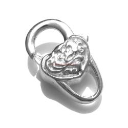 STERLING SILVER HEART LOBSTER CLASP LOCK Trigger BEAD 18mm HEAVY
