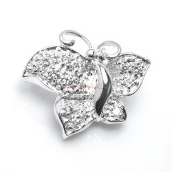 Sterling Silver Butterfly Pearl Clasp Enhancer Shortener w/ Cz Crystal Stone