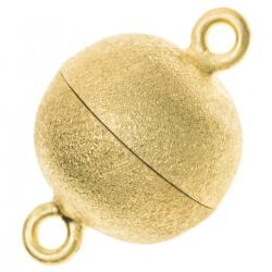 1x 14K Real Gold Plated over Sterling Silver 1 strand Round Ball Stardust Magnetic Clasp 10mm