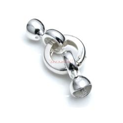 1 Set 925 Sterling Silver Round Pearl Shortener Enhancer Ring Clasp with 2 Stringing Bail Pendant Charm Connector End Caps