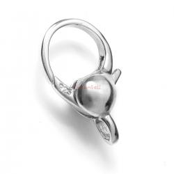 1x Rhodium on 925 Sterling Silver Large Trigger Lobster Clasp Bead Charm Connector Bail