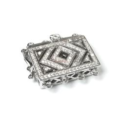 1x Rhodium Plated Sterling Silver Flower Filigree Rectangle 4 Strands Pearl Box Micro Pave CZ Crystal Clasp 18mm