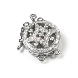 1x Rhodium Plated Sterling Silver Round Filigree 4 Strands Pearl Box Micro Pave CZ Crystal Clasp 19mm