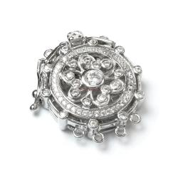 1x Rhodium Plated Sterling Silver Filigree Flower 4 Strands Pearl Box Micro Pave CZ Crystal Clasp 25mm