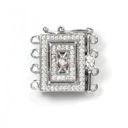 1x Rhodium Plated Sterling Silver Filigree Rectangle 4 Strands Pearl Box Micro Pave CZ Crystal Clasp 17mm
