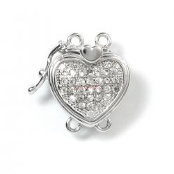 1x Rhodium Plated Sterling Silver Heart 2 Strands Pearl Box Micro Pave CZ Crystal Clasp 16mm