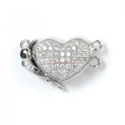 1x Rhodium Plated Sterling Silver Love Heart 2 Strands Pearl Box Micro Pave CZ Crystal Clasp 19mm
