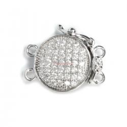 1x Rhodium Plated Sterling Silver Filigree Round 2 Strands Pearl Box Micro Pave CZ Crystal Clasp 16mm