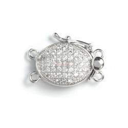 1x Rhodium Plated Sterling Silver Oval 2 Strands Pearl Box Micro Pave CZ Crystal Clasp 18mm