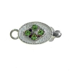 1x 925 Sterling Silver Peridot Green CZ Crystal Oval 1 Strand Pearl Box Clasp 14mm