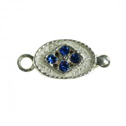 1x 925 Sterling Silver Oval Blue Sapphire CZ Crystal 1 Strand Pearl Box Clasp 14mm