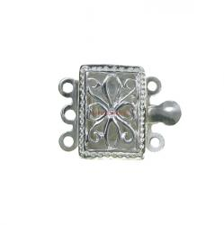 1x 925 Sterling Silver Rectangular Filigree Flower Pattern 3 Strands Pearl Box Clasp 15mm