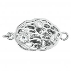 1x Rhodium Plated Sterling Silver Filigree Tree of Life Oval 1 Strand Clear CZ Crystal Pearl Box Clasp