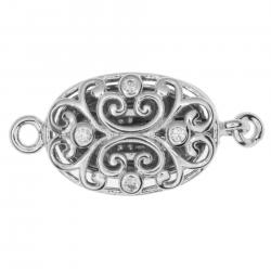 1x Rhodium Plated Sterling Silver Filigree Flower Oval 1 Strand Clear CZ Crystal Pearl Box Clasp
