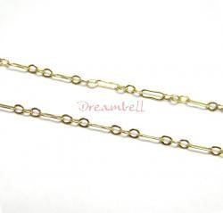 "12"" x 14K Gold filled Bead 3+1 Cable RING Chain 2mm"