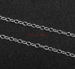 "12"" Sterling silver bead 1512 OVAL RING Cable Link Chain"