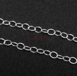 "12"" Sterling silver bead 2207 OVAL RING Cable Link Chain"