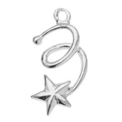 2x STERLING SILVER BRIGHT TWINKLE STAR DANGLE CHARM PENDANT