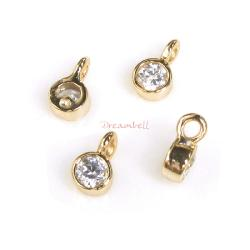 4x 14K Real Gold SILVER Round CZ DANGLE CHARM PENDANT 6.5mm