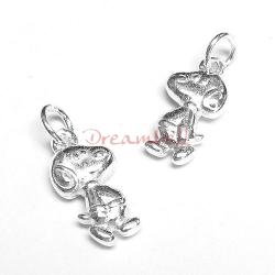 2x Bright Sterling silver Snoopy Dog Dangle Charm Pendant