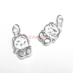 2x Bright Sterling silver Hello Kitty Cat  Bead Charm Pendant