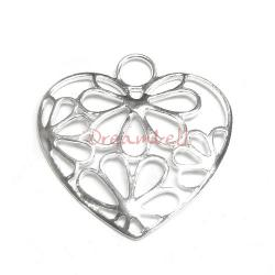 1x Sterling silver Flower HEART Pendant dangle Charm 28mm