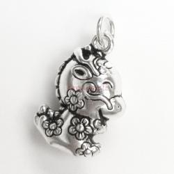1x Antique 925 Sterling Silver Chinese Zodiac Dragon Dangle Charm Pendant
