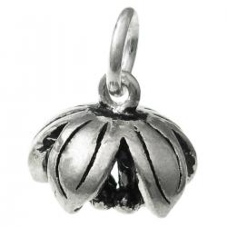 1x Antique 925 Sterling Silver Peony Lotus Flower Dangle Charm Pendant 12mm