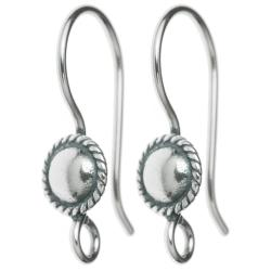 2x Bali Antique Sterling Silver Sterling Silver Round Shield Ear Wire Earring Hook