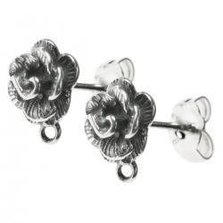 2x STERLING SILVER 8mm Rose Stud earrings  W/ loop post