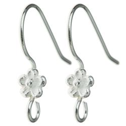 2x Sterling Silver Daisy Flower Ear Wire French Hook Earwires