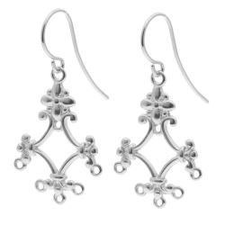 2x Sterling Silver FLOWER CHANDELIER EARRING CONNECTOR