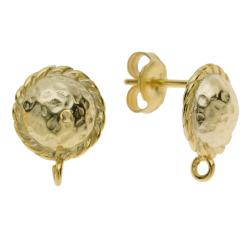 2x Vermeil 14K Real Gold plated Sterling silver ROUND HAMMERED Shield Stud Earring Loop Post 9.5mm