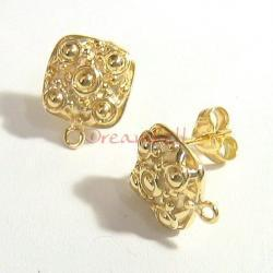 2x 14k Real Gold Silver Square Ball Stud Earrings