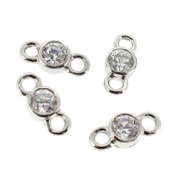 4x Sterling silver CZ  Crystal LINK CONNECTOR BEAD 8.5mm